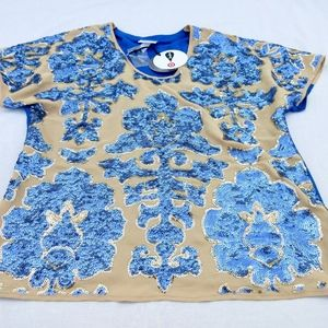 NWT Tracy Reese Sequined Summer Blouse / Top, Sz M